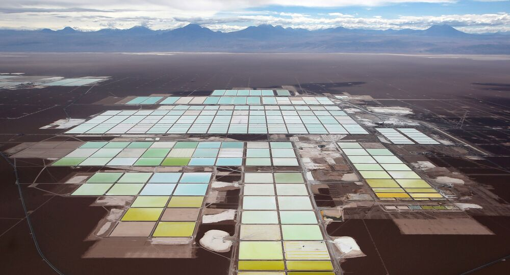 An aerial view shows the brine pools and processing areas of the Soquimich (SQM) lithium mine on the Atacama salt flat in the Atacama desert of northern Chile