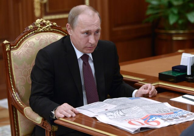 President Vladimir Putin during his meeting with Komsomolskaya Pravda Editor-in-Chief Vladimir Sungorkin in the Kremlin