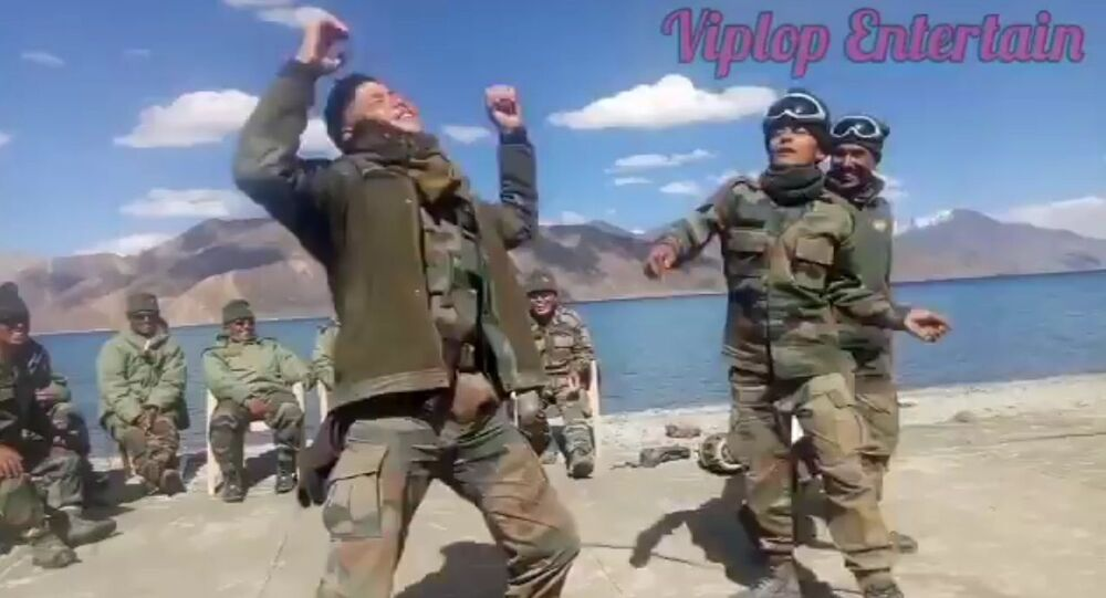 It feels great whenever soldiers enjoy! Brave Indian Army Gorkha Jawans and colleagues with full music at Pangong Tso in Ladakh