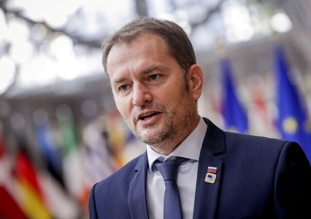Slovak Prime Minister Igor Matovic arrives for an EU summit in Brussels, Belgium, October 15, 2020.