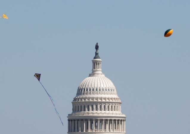 Kites and a football flies in the air near the U.S. Capitol as visitors gather to observe the annual cherry blossoms along the National Mall in Washington, U.S., March 29, 2021