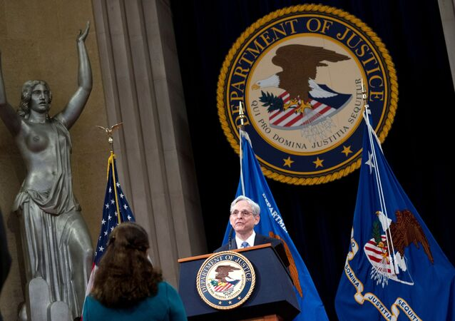 U.S. Attorney General Merrick Garland addresses staff on his first day at U.S. Department of Justice in Washington, DC, U.S. March 11, 2021.