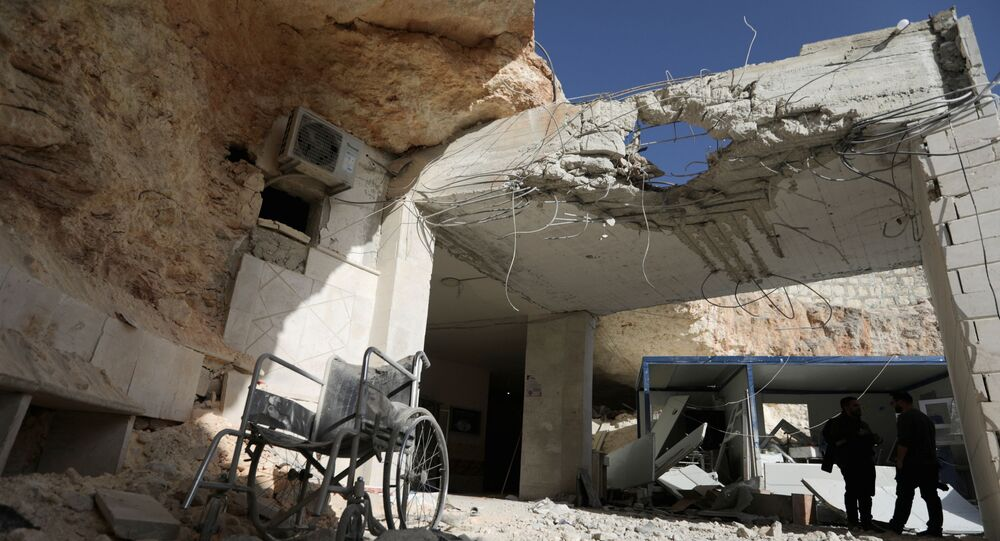 A view shows the damage at a hospital in a rebel-held town of Atareb in northwestern Syria, March 21, 2021.
