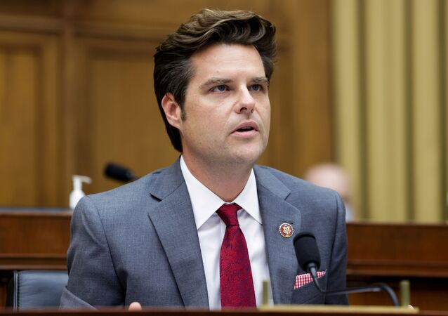 Representative Matt Gaetz, (R-FL), speaks during a hearing in the Rayburn House office Building on Capitol Hill, in Washington, U.S., July 29, 2020.