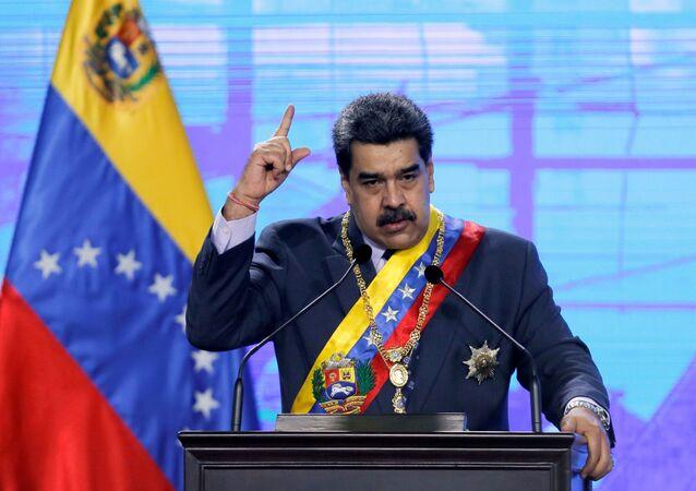 Venezuela's President Nicolas Maduro speaks during a ceremony in Caracas, Venezuela January 22, 2021
