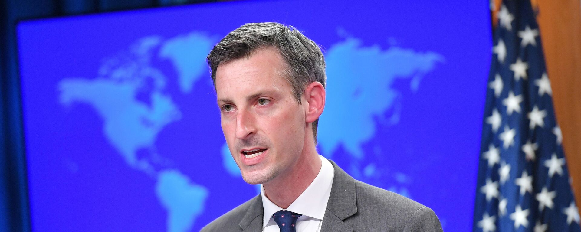 U.S. State Department spokesman Ned Price speaks during the release of the 2020 Country Reports on Human Rights Practices at the State Department in Washington, DC, U.S., March 30, 2021. - Sputnik International, 1920, 09.09.2021