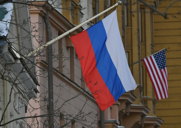 The national flags of Russia and the USA are seen on the building of the US Embassy in Novinsky Boulevard in central Moscow, Russia.