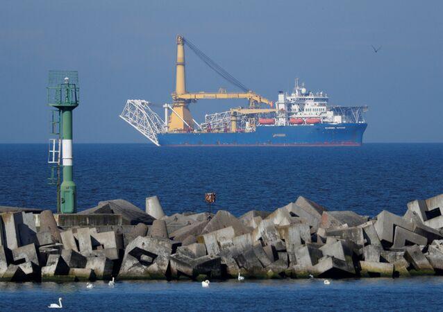 Pipe-laying vessel Akademik Cherskiy owned by Gazprom, is seen in a bay near the Baltic Sea port of Baltiysk, Kaliningrad region, Russia May 3, 2020.