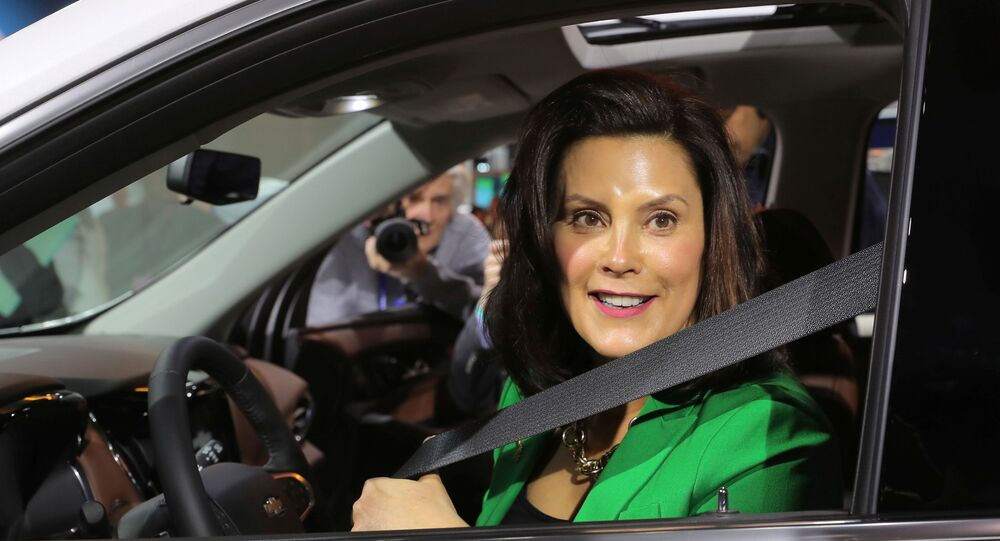 Michigan Governor Gretchen Whitmer sits in a 2019 Chevrolet Traverse, assembled in Lansing, Michigan, at the General Motors display area during the North American International Auto Show in Detroit, Michigan, U.S., January 15, 2019.
