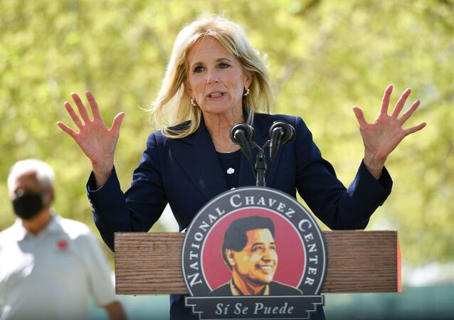 U.S. First Lady Jill Biden speaks during a visit at The Forty Acres, the first headquarters of the United Farm Workers labor union, in Delano, California, U.S. March 31, 2021.