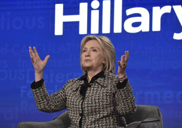 Hillary Clinton participates in the Hulu Hillary panel during the Winter 2020 Television Critics Association Press Tour, on Friday, Jan. 17, 2020, in Pasadena, Calif