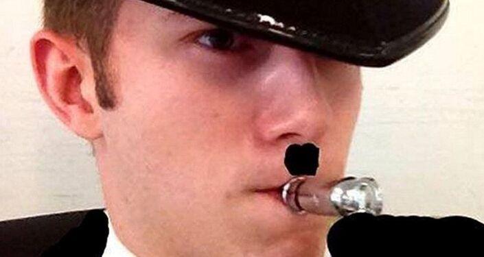 Benjamin Hannam drew a Hitler moustache on a photo of himself in a Nazi uniform