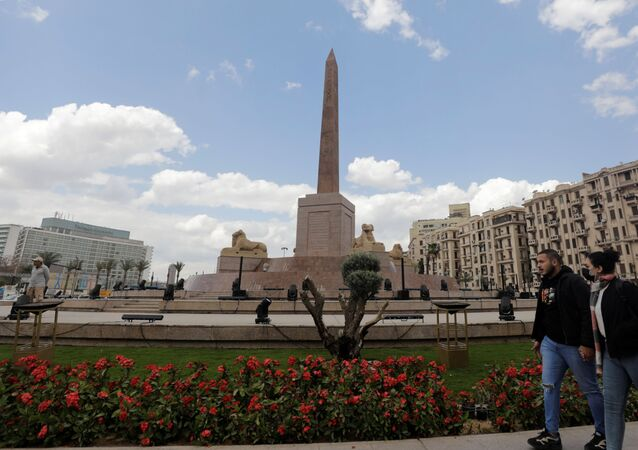 The Ramses II obelisk is seen after the renovation of Tahrir Square for transferring 22 mummies from the Egyptian Museum, in Tahrir, to the National Museum of Egyptian Civilization, in Fustat, amidst the outbreak of coronavirus disease (COVID-19), in Cairo, Egypt, April 1, 2021.