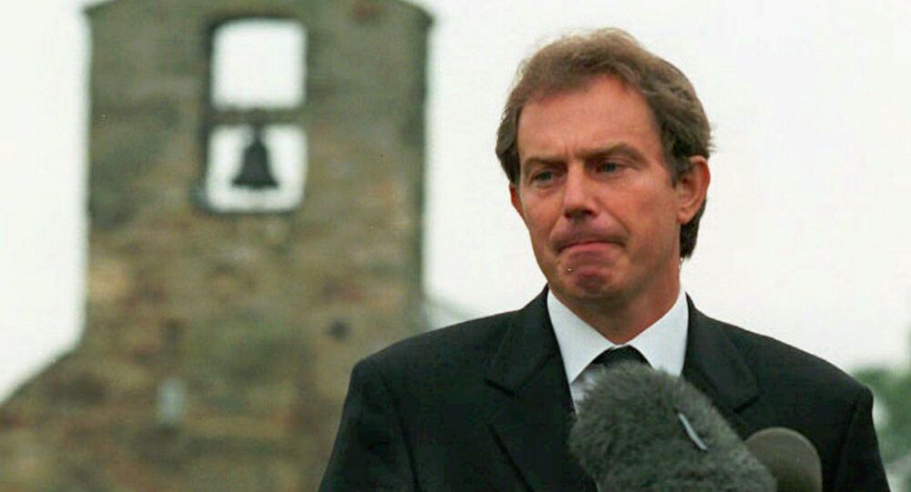 Prime Minister Tony Blair addresses the nation from his home village at Trimdon in northern England Sunday Aug. 31, 1997