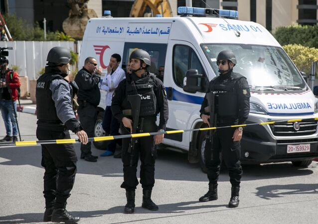 Police officers guard the blast site, Tunis (File)