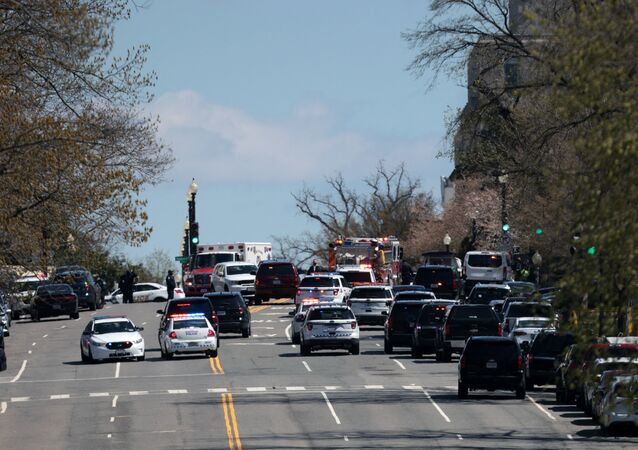 Emergency vehicles on scene after a vehicle charged a barricade at the U.S. Capitol on April 02, 2021 in Washington, DC. The U.S. Capitol was locked down after a person reportedly rammed a vehicle into two Capitol Hill police officers. A suspect was apprehended.