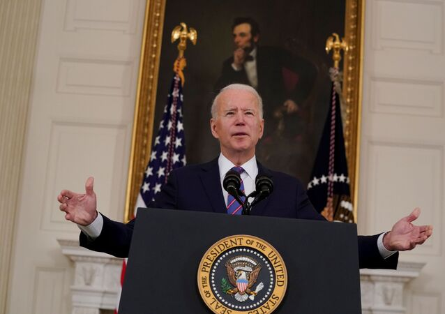 U.S. President Joe Biden delivers remarks on the Department of Labor's March jobs report from the State Dining Room at the White House in Washington, D.C., U.S.,  April 2, 2021.