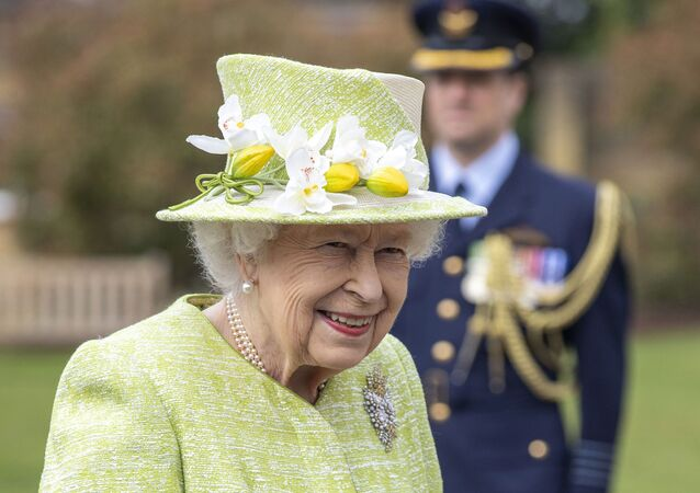 Britain's Queen Elizabeth II during a visit to the CWGC, the Commonwealth War Graves Commission Air Forces Memorial to attend a service to mark the Centenary of the Royal Australian Air Force, in Runnymede, England, Wednesday March 31, 2021.
