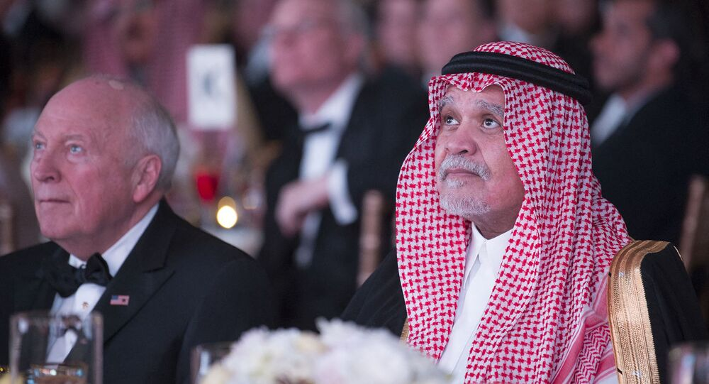 A handout picture provided by the Saudi Royal Palace on March 22, 2018 shows former Saudi Ambassador to the United States Prince Bandar bin Sultan (R) and former US Vice President Dick Cheney attending Saudi-US Partnership Gala event in Washington, DC.