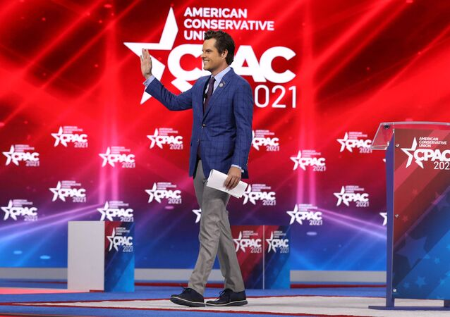 Rep. Matt Gaetz (R-FL) addresses the Conservative Political Action Conference being held in the Hyatt Regency on February 26, 2021 in Orlando, Florida. Joe Raedle/Getty Images/AFP (Photo by JOE RAEDLE / GETTY IMAGES NORTH AMERICA / Getty Images via AFP)