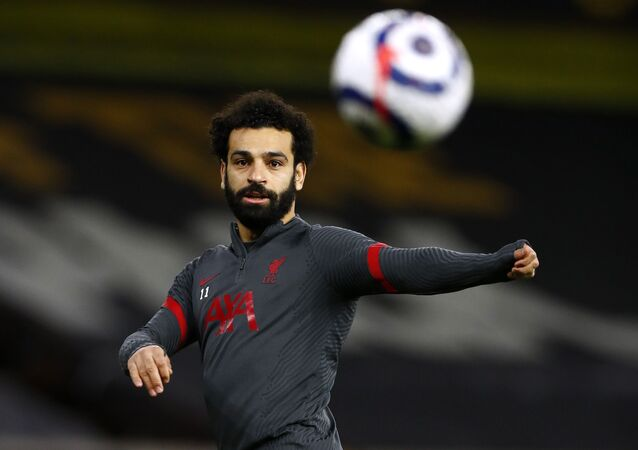 Liverpool's Mohamed Salah during the warm up before the match on March 15, 2021