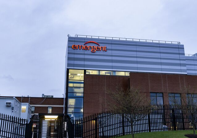 The exterior view of the Emergent BioSolutions plant on April 01, 2021 in Baltimore, Maryland.