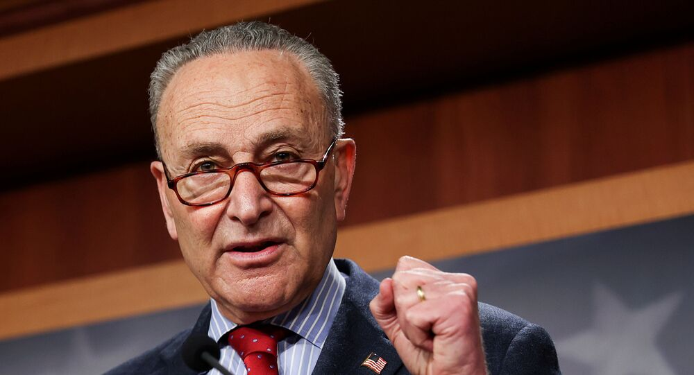 U.S. Senate Majority Leader Chuck Schumer (D-NY) touts Senate Democrats legislative accomplishments as he holds a news conference at the U.S. Capitol in Washington, U.S., March 25, 2021.