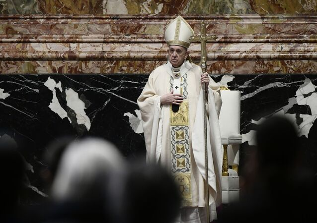 Pope Francis celebrates Easter Mass at St. Peter's Basilica at The Vatican Sunday, April 4, 2021, during the Covid-19 coronavirus pandemic
