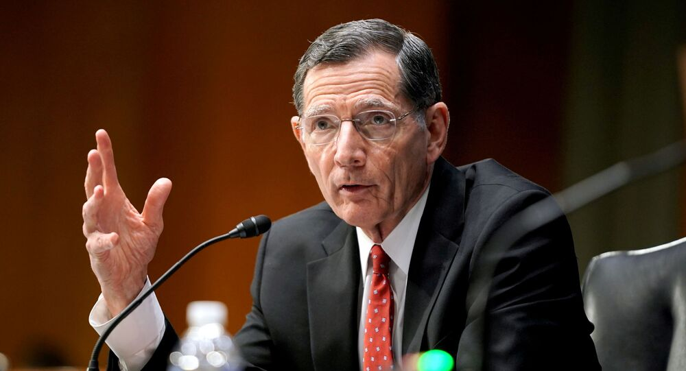 Sen. John Barrasso (R-Wyo.) questions    former U.S. Ambassador to the United Nations Samantha Power, who is President Joe Biden's choice to lead the U.S. Agency for International Development, at a confirmation hearing before the Senate Foreign Relations Committee in Washington, DC, U.S., March 23, 2021.