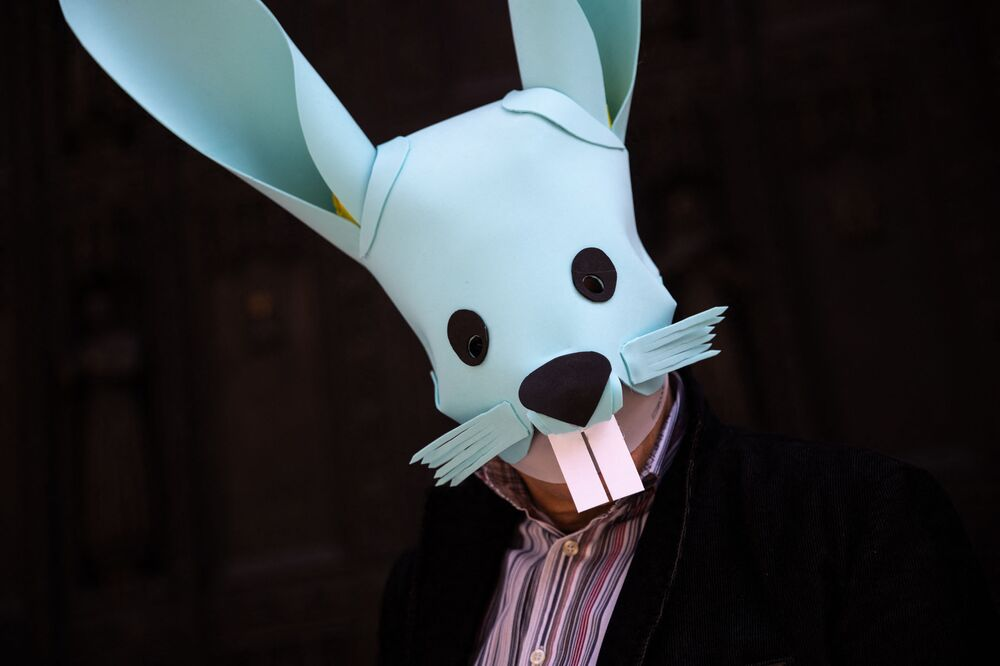 A man in a bunny costume participates during the Easter Bonnet parade on Fifth Avenue in midtown on 4 April 2021 in New York City.