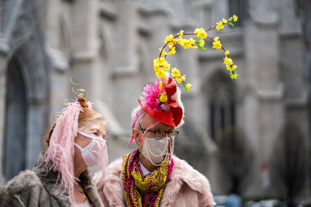 People wearing costumes attend the annual Easter Parade and Bonnet Festival on Fifth Avenue, amid the coronavirus disease pandemic, in New York City, US, 4 April 2021.