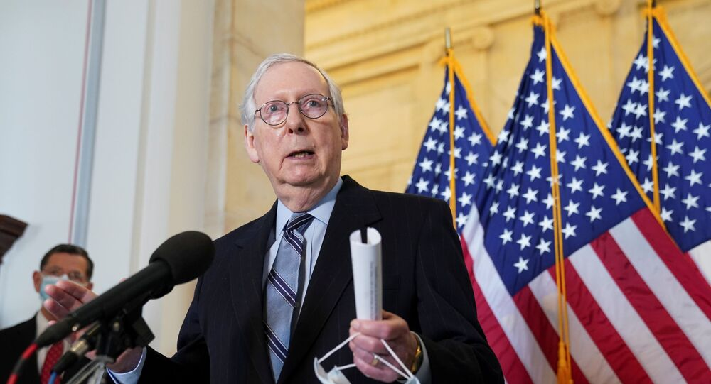 Senate Minority Leader Mitch McConnell speaks to reporters after the Senate Republican lunch on Capitol Hill in Washington, U.S., March 23, 2021