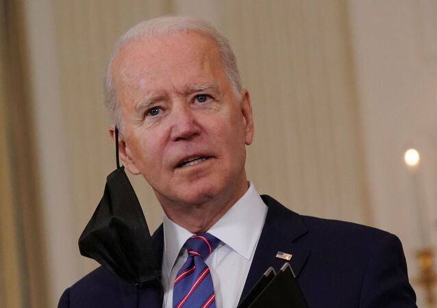 U.S. President Joe Biden answers media questions after delivering remarks on the Department of Labor's March jobs report from the State Dining Room at the White House in Washington, D.C., U.S.,  April 2, 2021