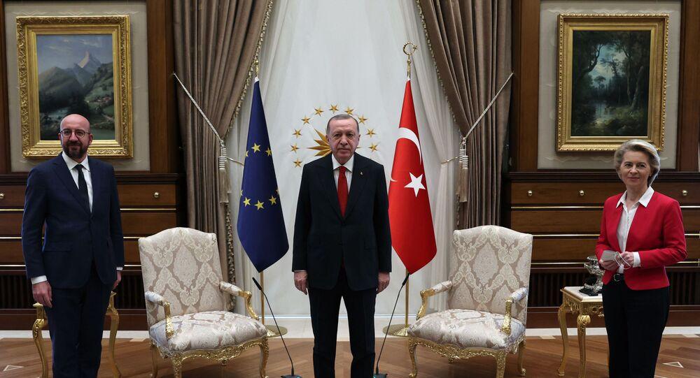 Turkish President Recep Tayyip Erdogan receiving EU Council President Charles Michel (L) and President of EU Commission Ursula Von der Leyen (R) at the Presidential Complex in Ankara.