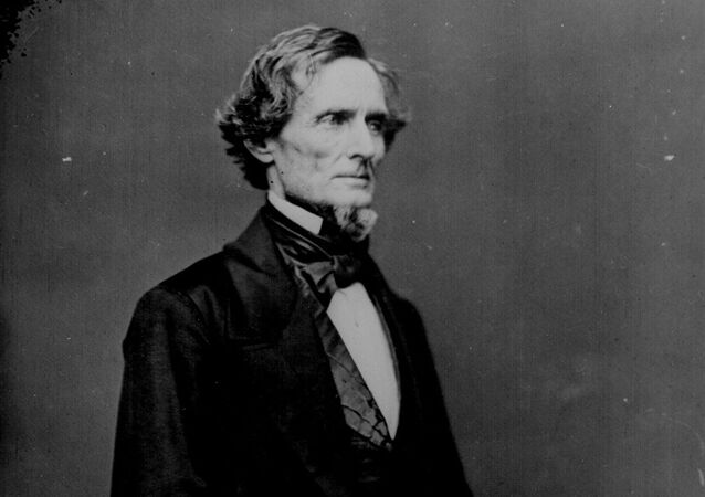President Jefferson Davis, three-quarter-length, standing. Photographed by Mathew B. Brady before the war.