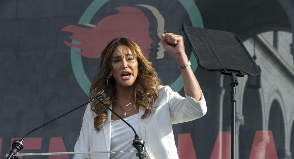 Transgender rights activist Caitlyn Jenner speaks at the 4th Women's March in Los Angeles on Saturday, Jan. 18, 2020. Thousands gathered in cities across the country Saturday as part of the nationwide Women's March rallies focused on issues such as climate change, pay equity, reproductive rights and immigration. (AP Photo/Damian Dovarganes)