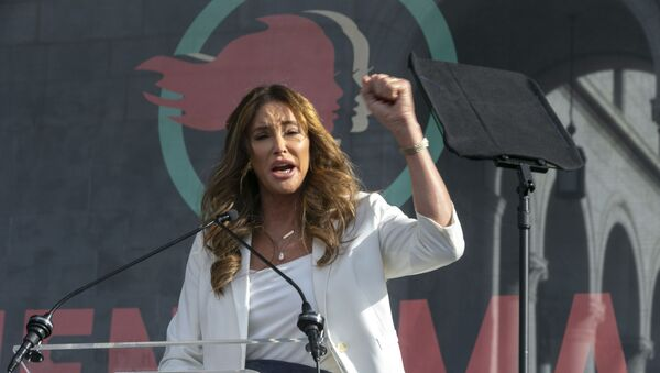 Transgender rights activist Caitlyn Jenner speaks at the 4th Women's March in Los Angeles on Saturday, Jan. 18, 2020. Thousands gathered in cities across the country Saturday as part of the nationwide Women's March rallies focused on issues such as climate change, pay equity, reproductive rights and immigration. (AP Photo/Damian Dovarganes) - Sputnik International
