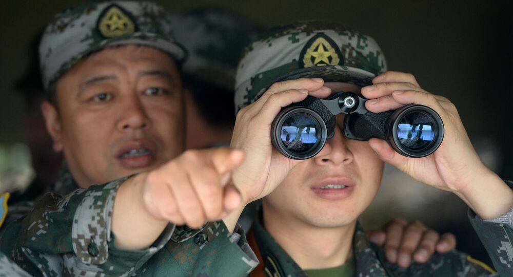 Chinese troops during joint drills with Russia. File photo.