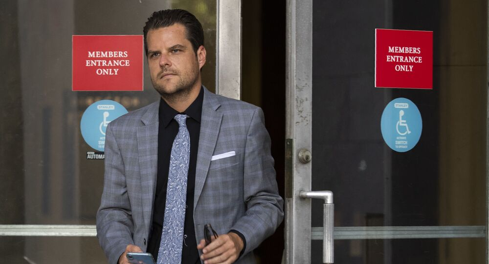 House Judiciary Committee member Rep.Matt Gaetz, R-Fla., leaves the Rayburn House Office Building after the committee's closed-door meeting with Geoffrey Berman, former federal prosecutor for the Southern District of New York on Capitol Hill Thursday, July 9, 2020