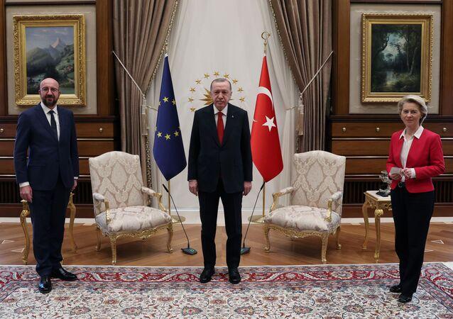 Turkish President Tayyip Erdogan meets with European Council President Charles Michel and European Commission President Ursula von der Leyen in Ankara, Turkey April 6, 2021.