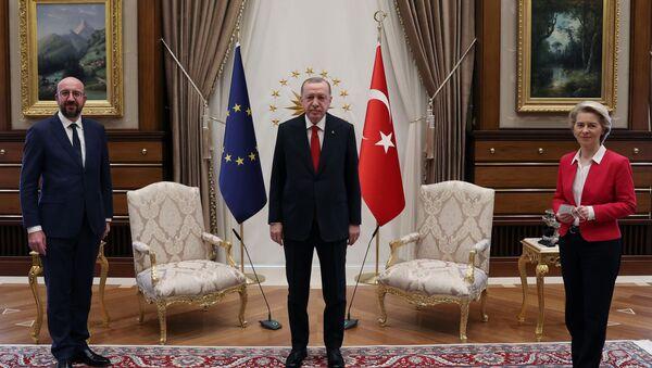 Turkish President Tayyip Erdogan meets with European Council President Charles Michel and European Commission President Ursula von der Leyen in Ankara, Turkey April 6, 2021. - Sputnik International