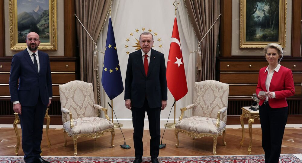 Turkish President Tayyip Erdogan meets with European Council President Charles Michel and European Commission President Ursula von der Leyen in Ankara, Turkey April 6, 2021.