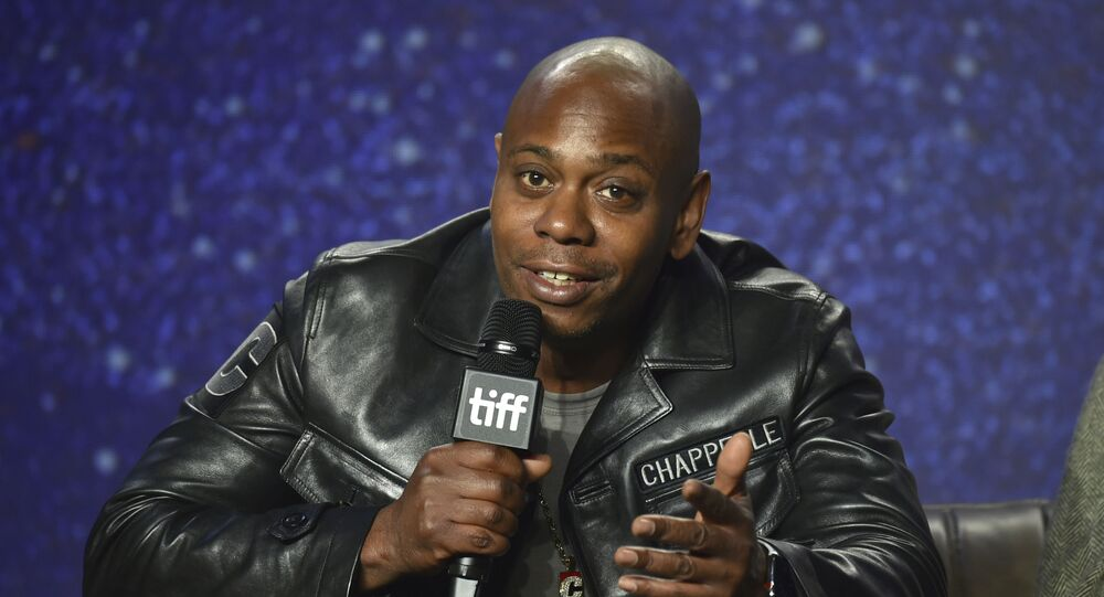 Dave Chappelle speaks at the press conference for A Star Is Born on day 4 of the Toronto International Film Festival at the TIFF Bell Lightbox on Sunday, Sept. 9, 2018, in Toronto.