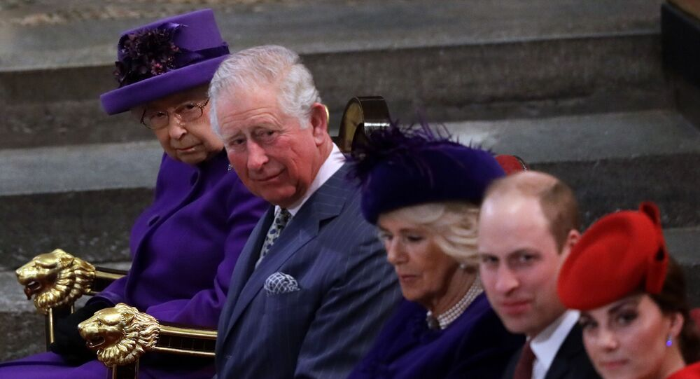 Britain's Kate, Duchess of Cambridge, Prince William, Camilla, the Duchess of Cornwall, Prince Charles and Queen Elizabeth II from foreground are seated at the Commonwealth Service at Westminster Abbey in London, Monday, March 11, 2019. Commonwealth Day has a special significance this year, as 2019 marks the 70th anniversary of the modern Commonwealth - a global network of 53 countries and almost 2.4 billion people, a third of the world's population, of whom 60 percent are under 30 years old.
