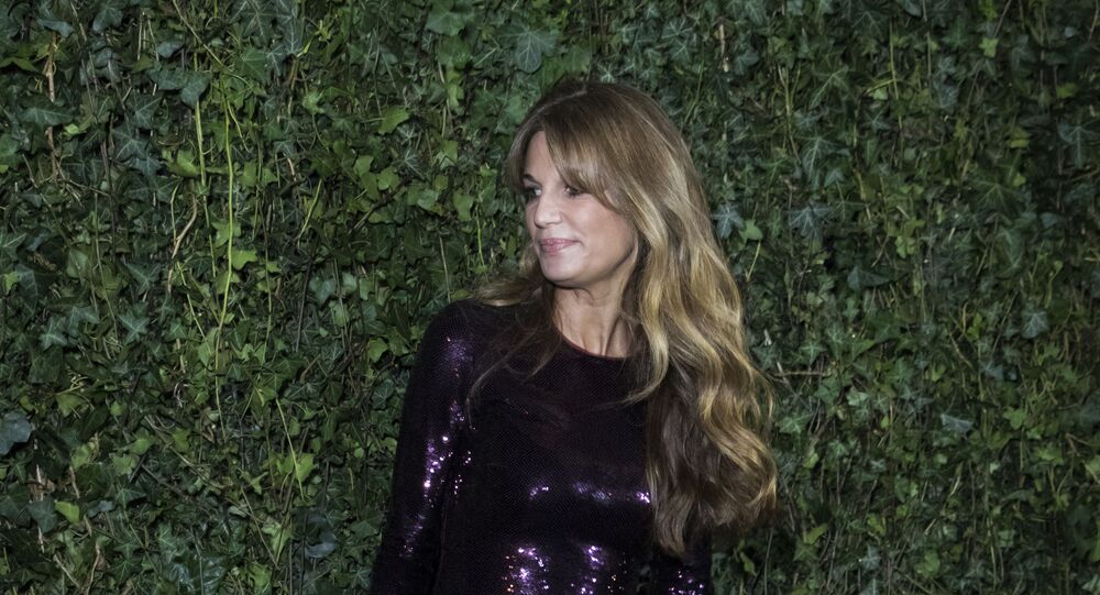 Jemima Goldsmith poses for photographers upon arrival at the Charles Finch and Chanel pre Bafta party in London, Saturday, Feb. 17, 2018.