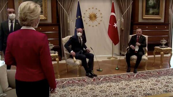 European Commission President Ursula von der Leyen stands as European Council President Charles Michel and Turkish President Tayyip Erdogan take seats in Ankara, Turkey April 6, 2021, in this screengrab obtained by Reuters - Sputnik International