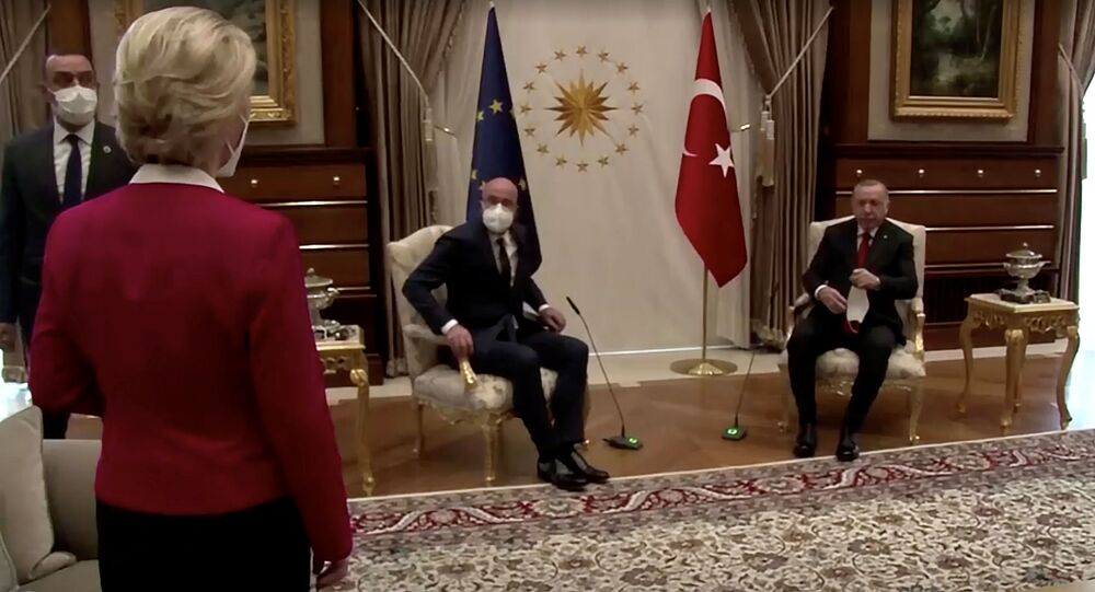 European Commission President Ursula von der Leyen stands as European Council President Charles Michel and Turkish President Tayyip Erdogan take seats in Ankara, Turkey April 6, 2021, in this screengrab obtained by Reuters