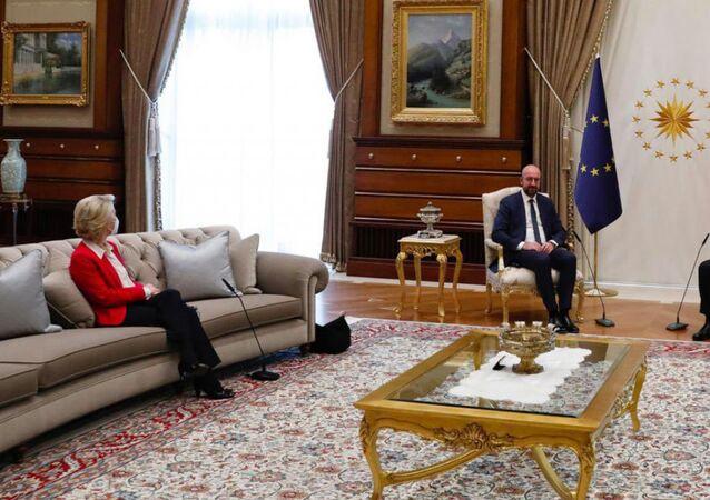 European Commission President Ursula Von der Leyen, Council President Charles Michel and Turkish President Recep Tayyip Erdoğan