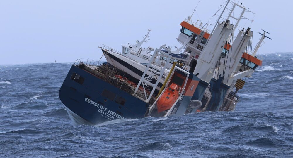 The Dutch cargo ship Eemslift Hendrika is seen in the Norwegian Sea, April 6, 2021