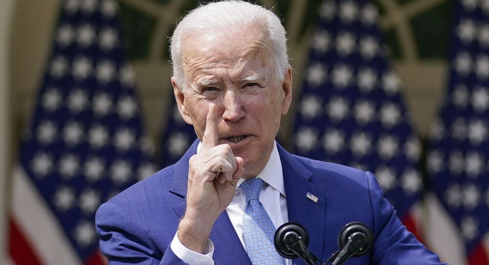 President Joe Biden gestures as he speaks about gun violence prevention in the Rose Garden at the White House, Thursday, April 8, 2021, in Washington.